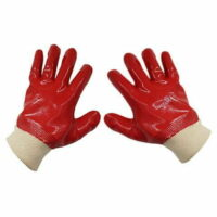 PVC Red Single Dipped Gloves With Knit Wrist - 27cm Length