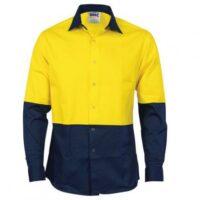 Hi-Vis Cool Breeze Food Industry Cotton Shirt (Long Sleeve) - Yellow/Navy