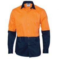 Hi-Vis Cool Breeze Food Industry Cotton Shirt (Long Sleeve) - Orange/Navy