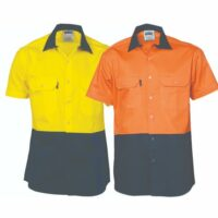 HiVis 2 Tone 155Gsm Cotton Short Sleeve Shirt