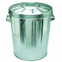 55L Galvanised Rubbish/Garbage Bin With Lid