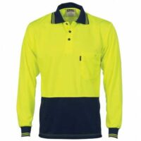 Hi-Vis Two Tone Cool Breathe Polo Shirt (Long Sleeve) - Yellow