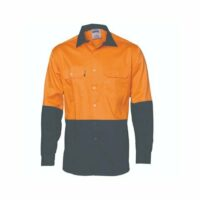 Hi-Vis Two Tone Orange & Navy Cool-Breeze Cotton Long Sleeve Shirt