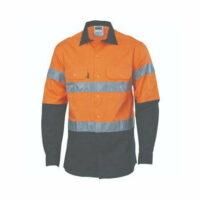 Hi-Vis 155gsm Cotton Shirt L/S Orange/Navy - W/Tape