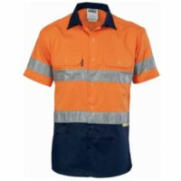 Hi-Vis Cool-Breeze Cotton Shirt with Day/Night Tape (Short Sleeves) - Orange