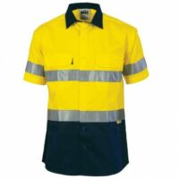 Hi-Vis Cool-Breeze Cotton Shirt with Day/Night Tape (Short Sleeves) - Yellow